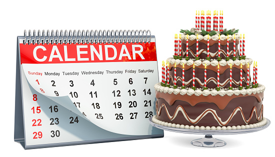 istock Desk calendar with chocolate birthday cake, 3D rendering isolated on white background 1147385924