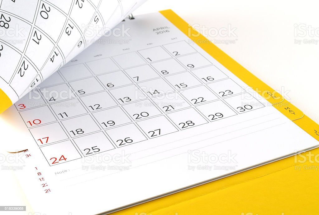 desk calendar with days and dates in April 2016 royalty-free stock photo