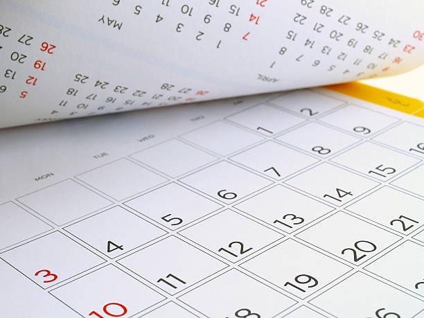 desk calendar with days and dates in July 2016 stock photo