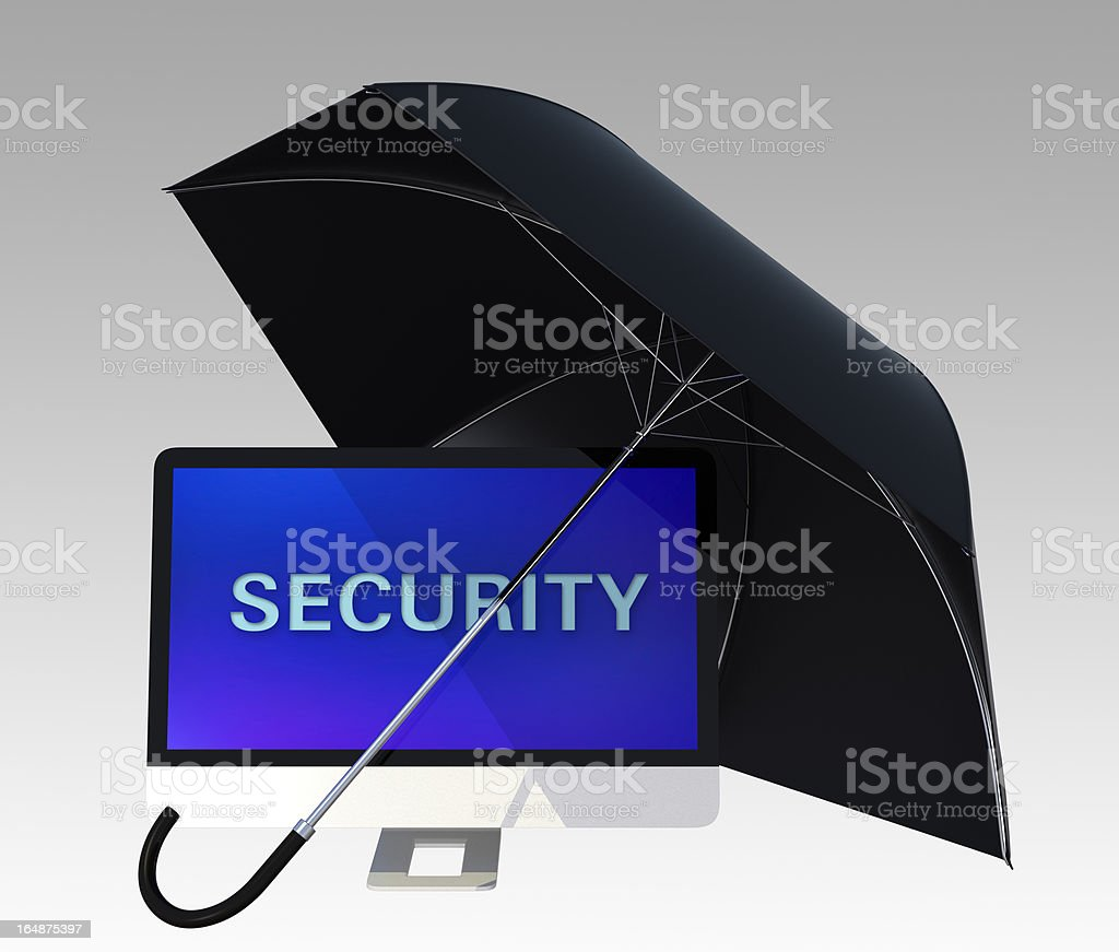 desk computer and black umbrella royalty-free stock photo