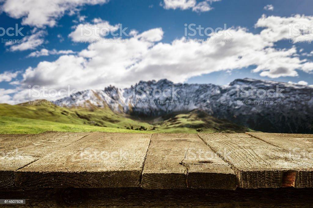 Desk - Dolomites - Mountains blurred stock photo