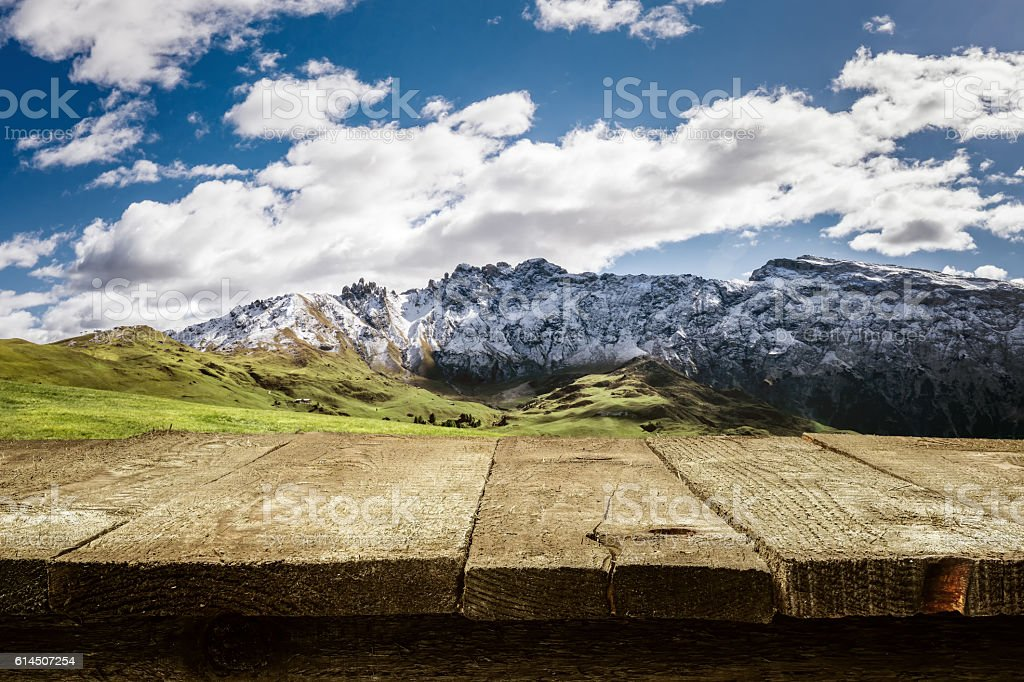 Desk - Dolomites - Mountains stock photo