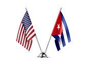 Desk flags, United States  America  and Cuba, isolated on white background. 3d image