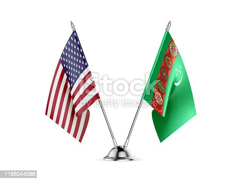 istock Desk flags, United States  America  and Turkmenistan, isolated on white background. 3d image 1185044388