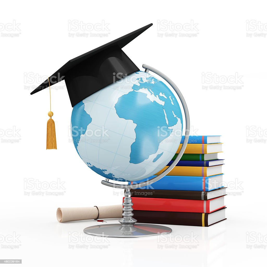 desk globe with graduation cap diploma and books royalty free stock photo