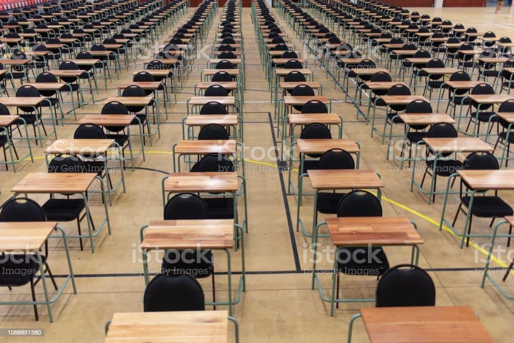 Desk in a auditorium