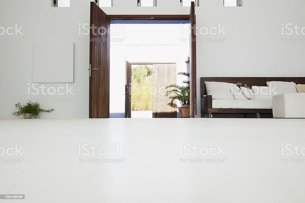 Desk in modern house stock photo