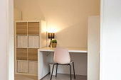 Desk in modern organized white room, home interior with, green plant and lamp