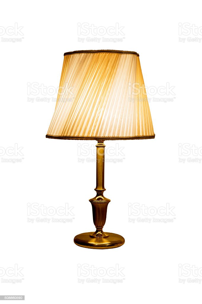 Old fashion table lamp isoleted with the lampshade.