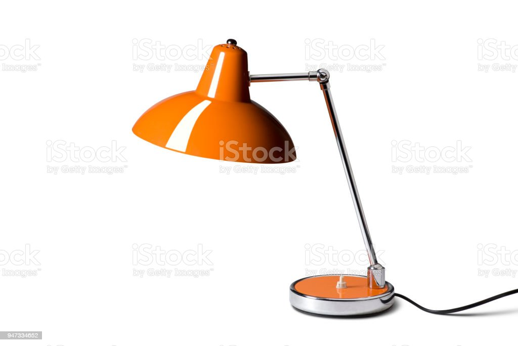 Desk lamp on white background. Photo with clipping path. stock photo