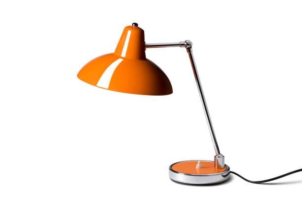 lampe de bureau sur fond blanc. photo avec un tracé de détourage. - lampe électrique photos et images de collection