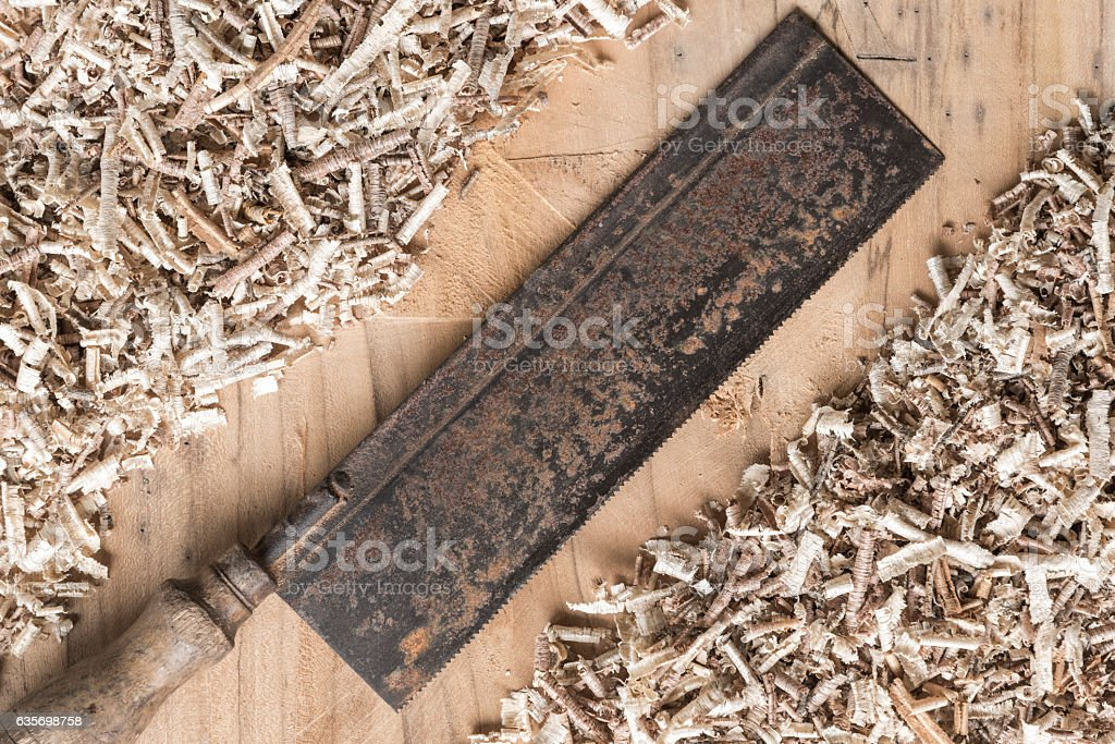 Desk of a carpenter tools on a wooden background. royalty-free stock photo