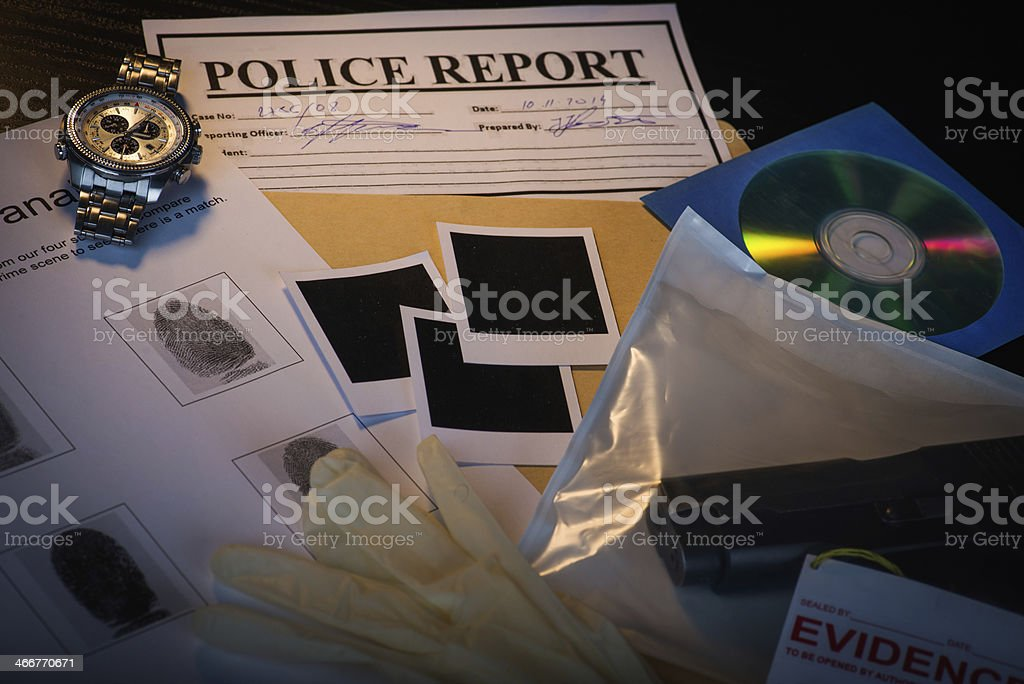 Desk of a police detective stock photo