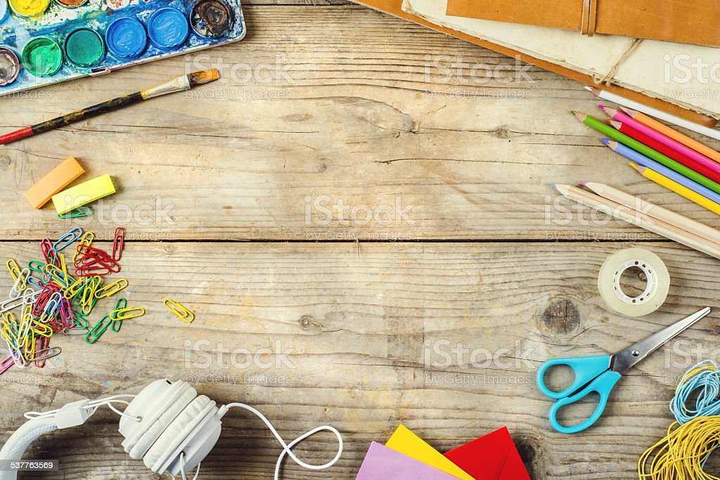Desk of an artist stock photo