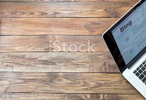 istock Desk of blogger 479413846