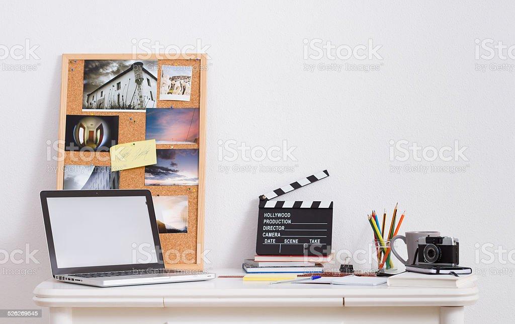 Desk of creative worker stock photo
