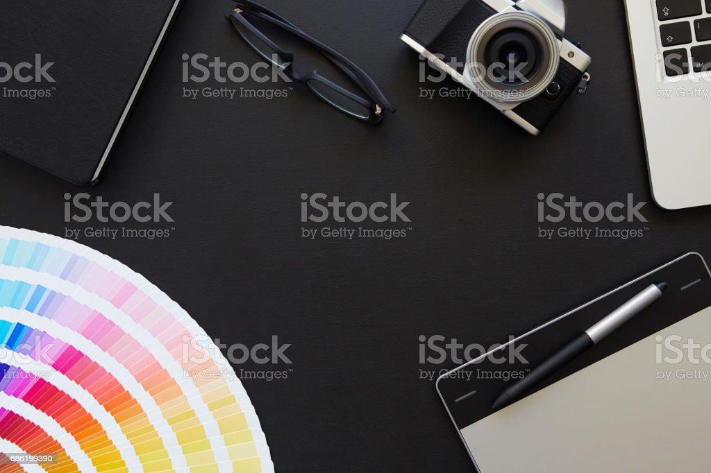 Desk of graphic designer stock photo