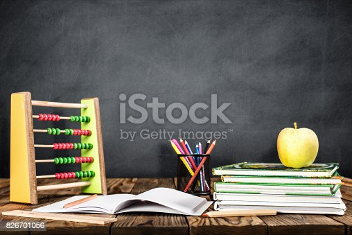 istock Desk Of Student, Abacus, Books and Pencils 826701056