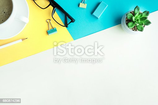 istock Desk office background with supplies.business working table 680874296
