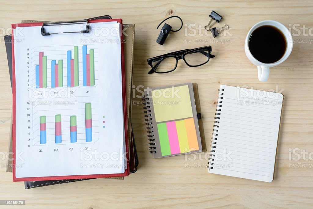 Desk office business financial Graph analysis with laptop stock photo