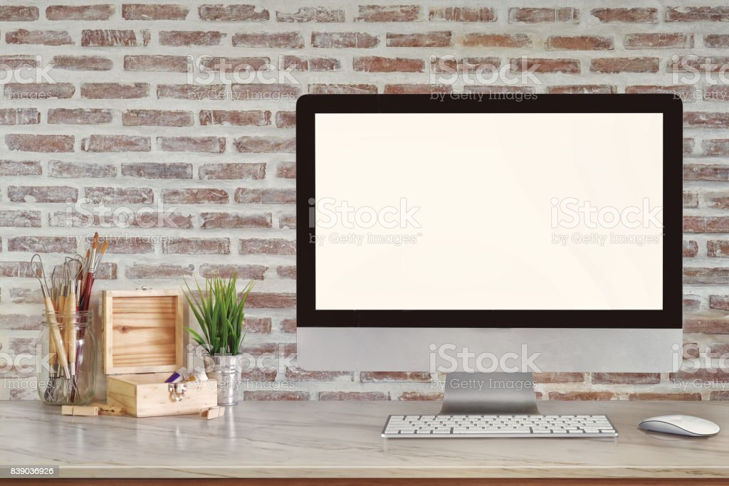 Bureau espace décoration moderne maquette ordinateur de bureau avec