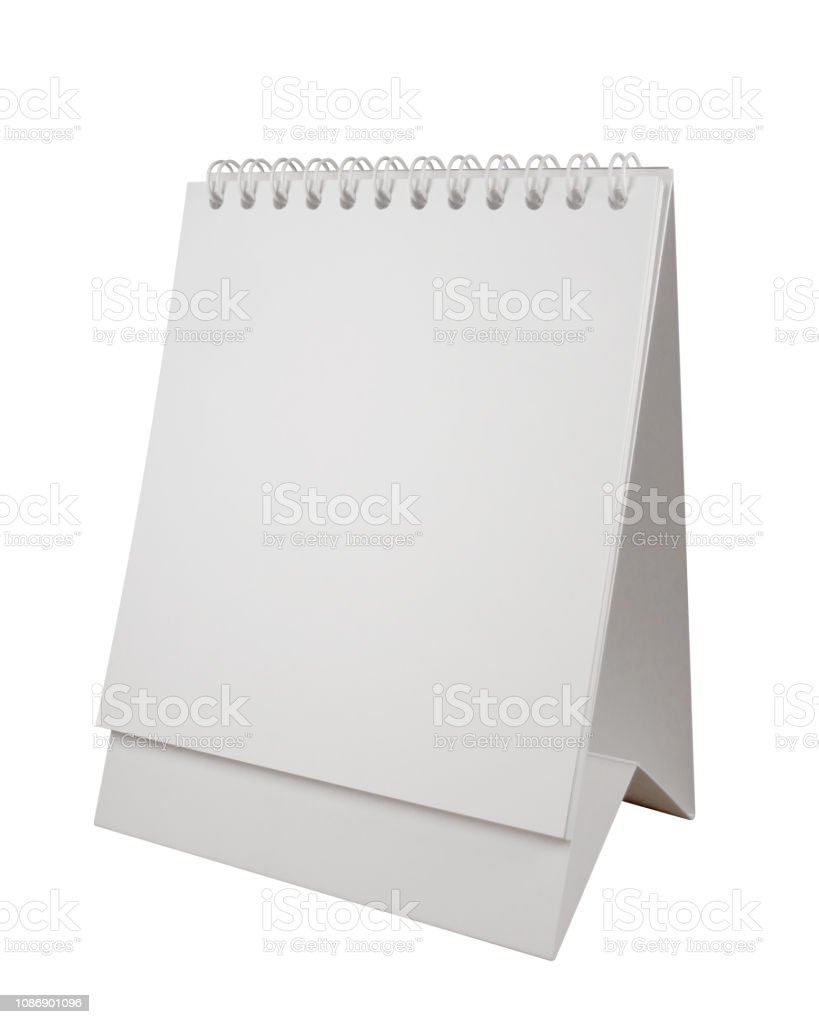Desk spiral calendar stock photo