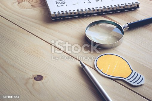 istock Desk table Investor background.business concept 642891484