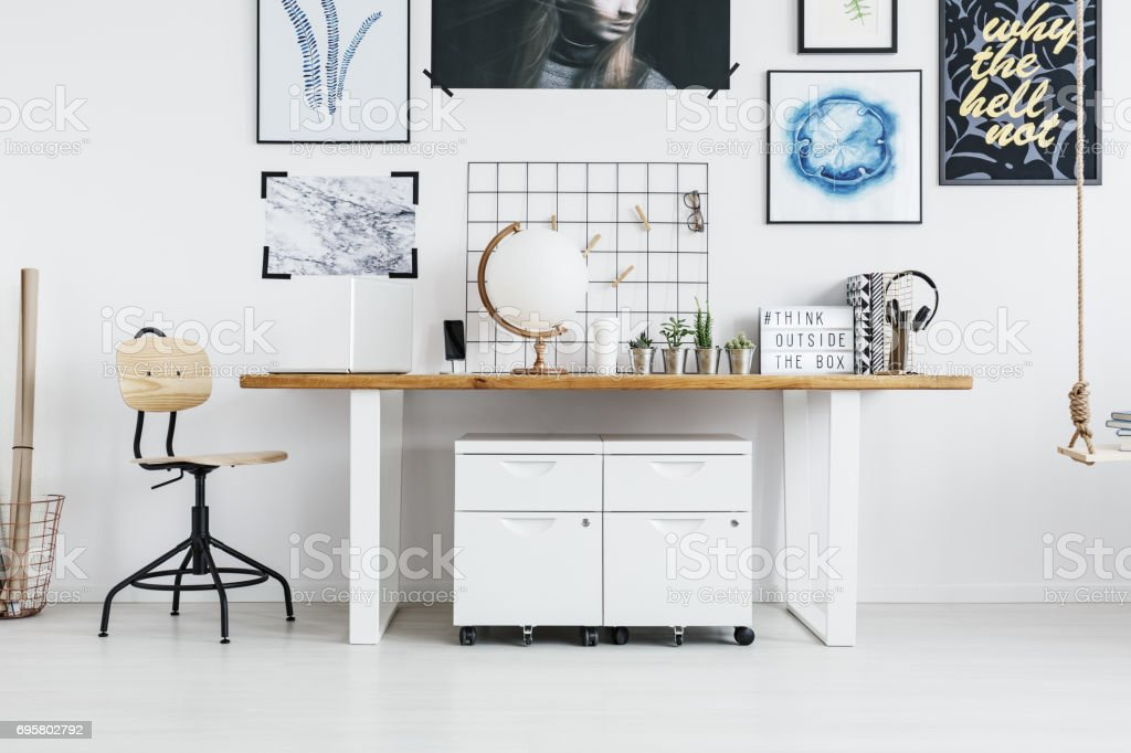 Desk with accessories stock photo