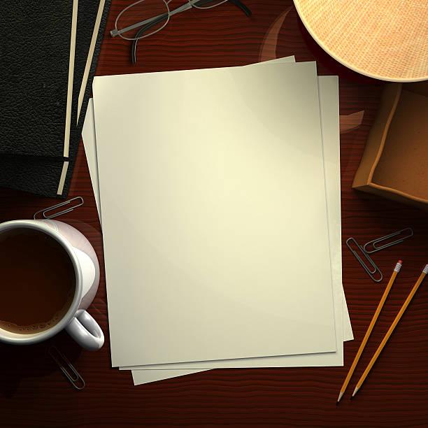 schreibtisch mit leeren papier - mahagoni braun stock-fotos und bilder