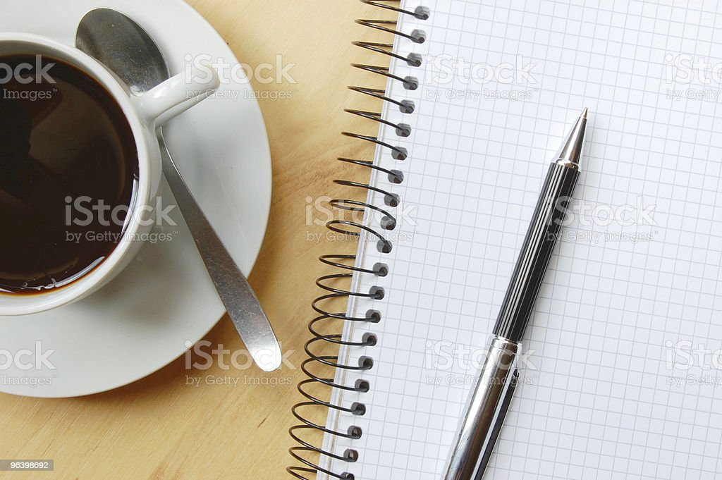 desk with coffee and notebook - Royalty-free Business Stock Photo