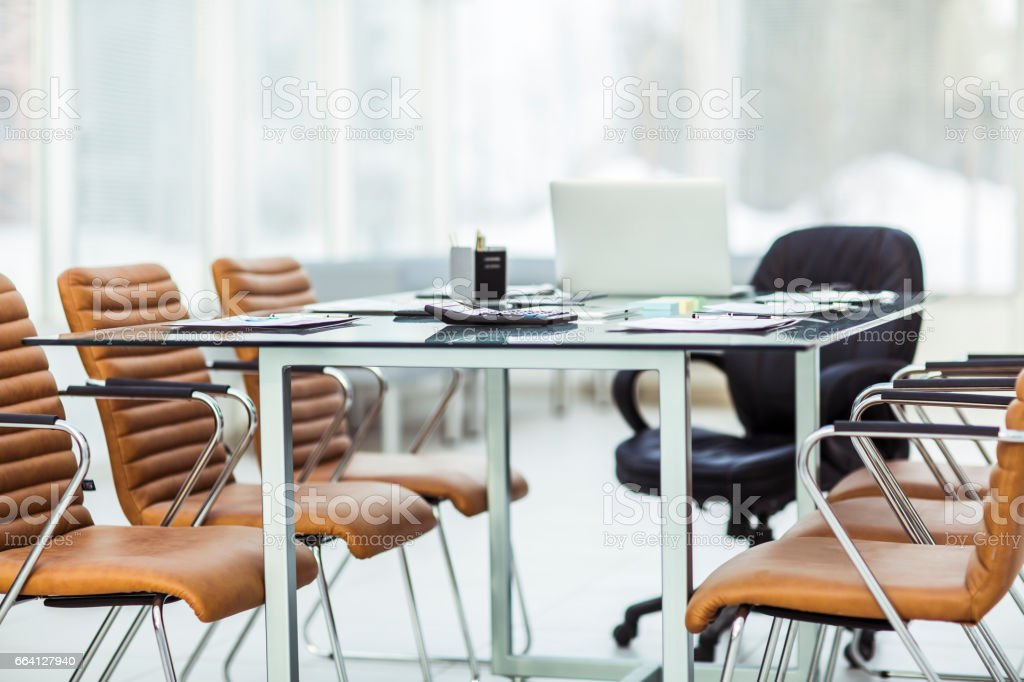 Desk with documents prepared by the beginning of business negotiation foto stock royalty-free