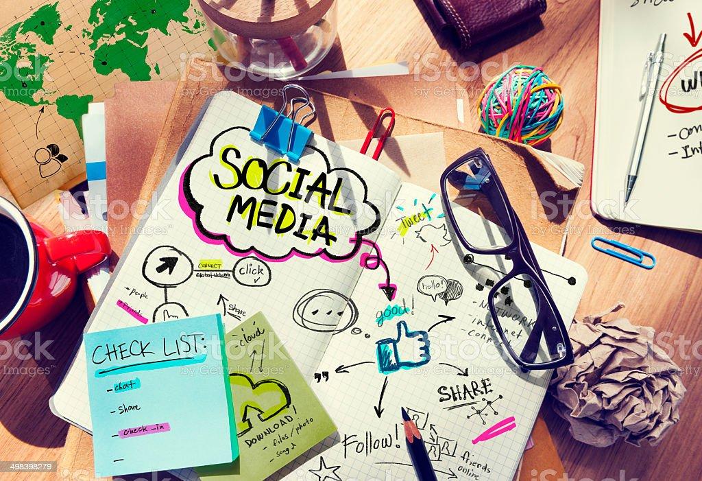 Schreibtisch mit Social Media-Konzept und – Foto