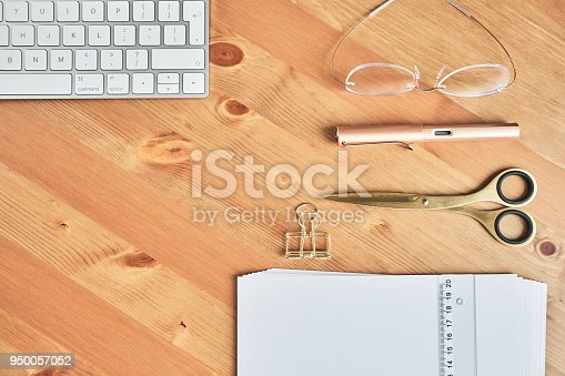 Desk with various office supplies, flat lay