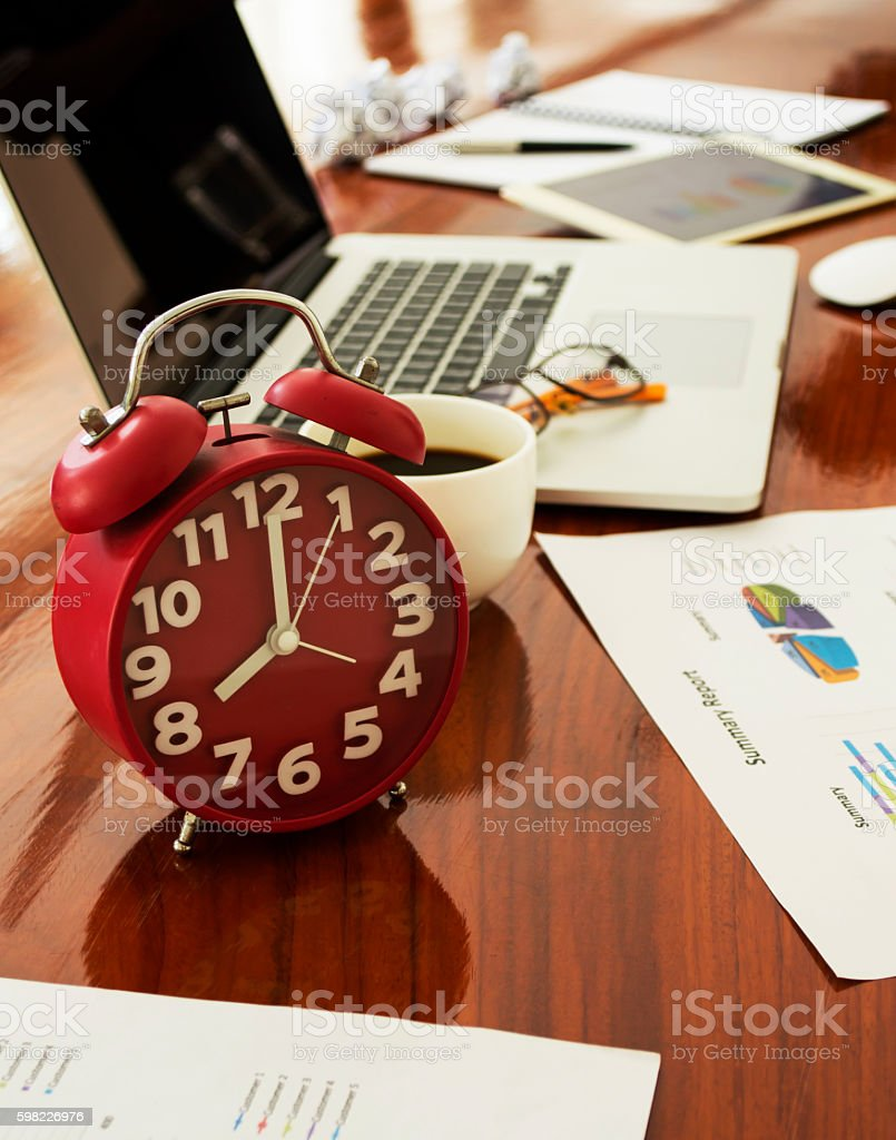 desk work  Office wood table foto royalty-free