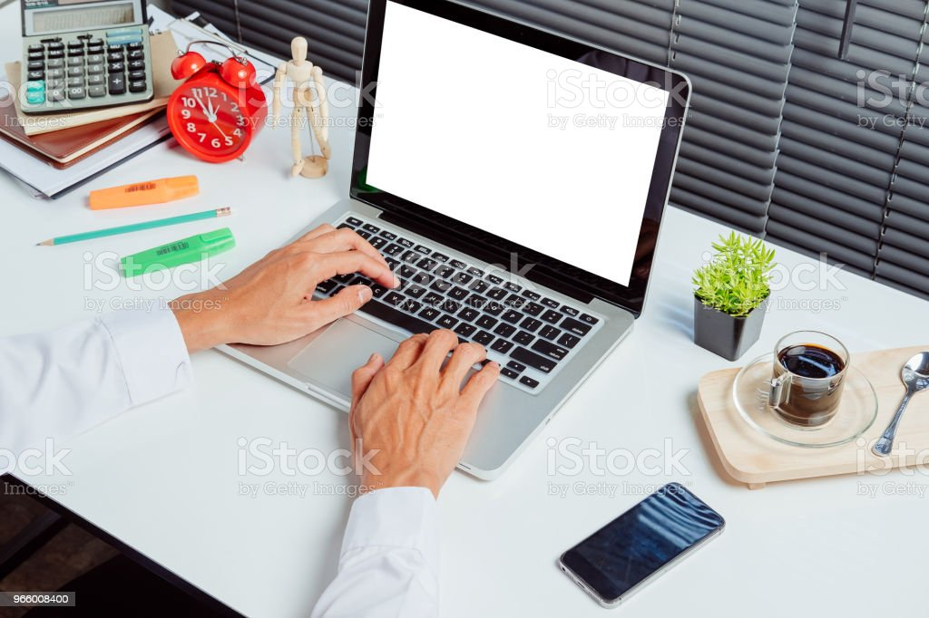 Desk workspace for product display mock up. - Royalty-free Above Stock Photo