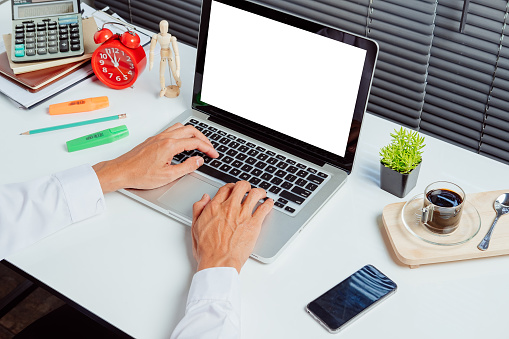 Desk Workspace For Product Display Mock Up Stock Photo - Download Image Now