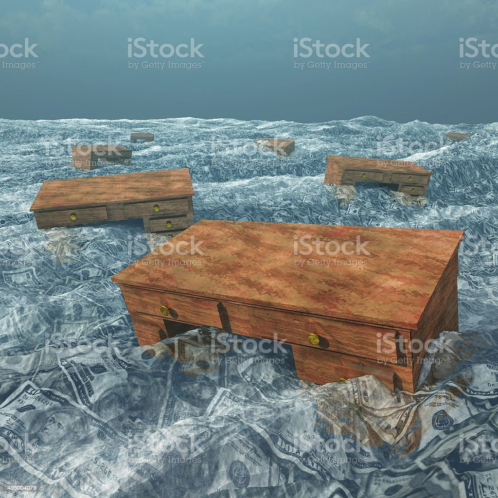 Desks floating in sea of US currency stock photo