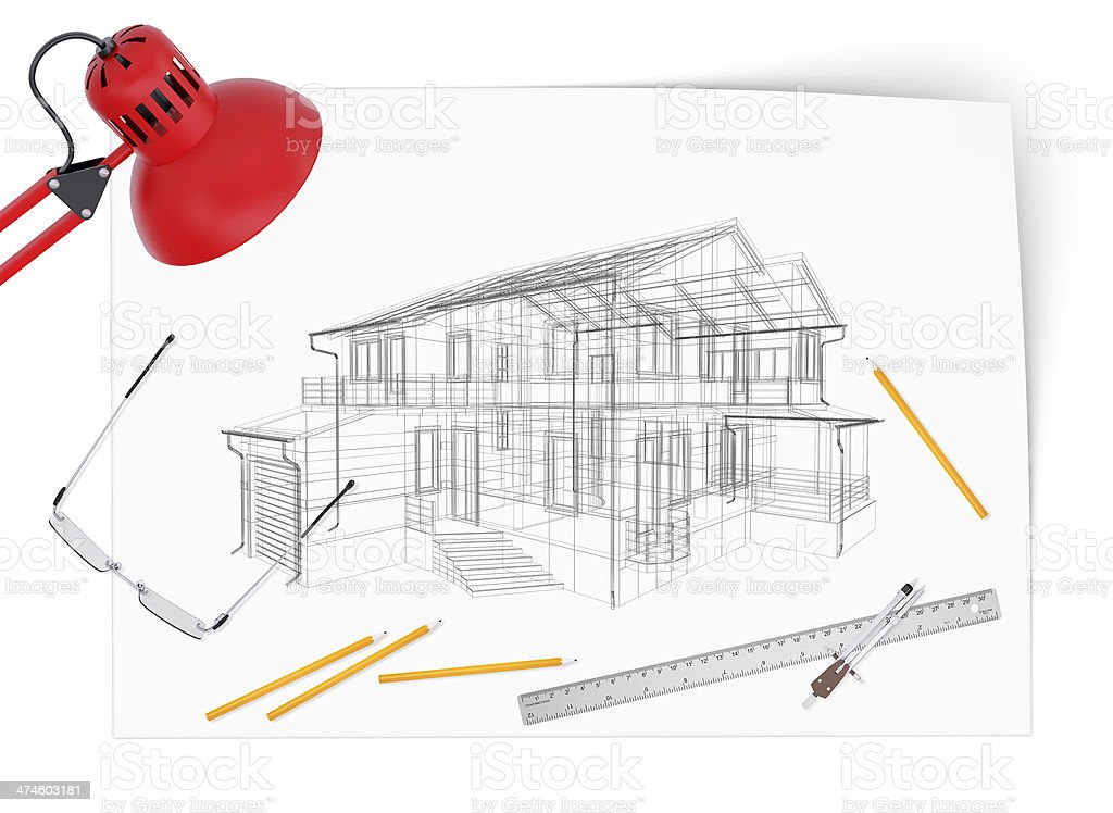 Desktop architect stock photo