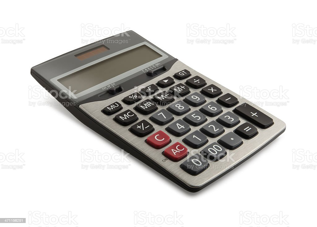 Desktop Calculator Solar powered and angled display desktop calculator, isolated on white background. Business Stock Photo