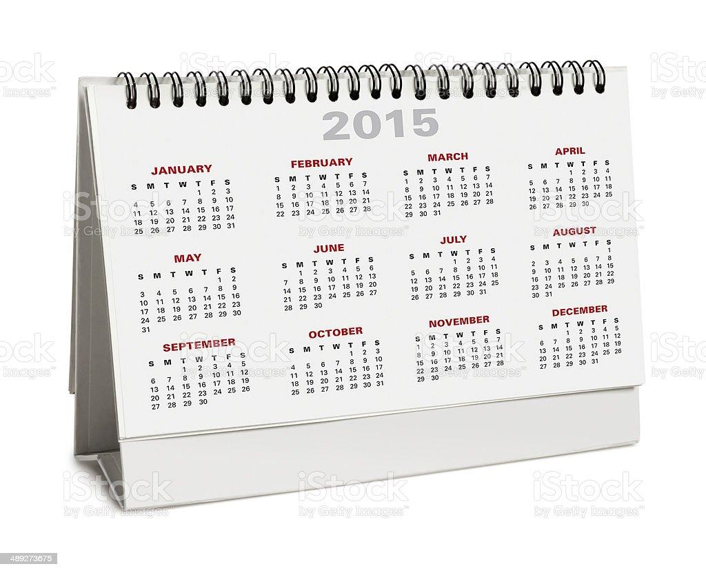 Desktop calendar 2015 - with clipping path stock photo