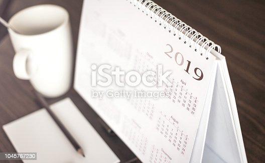 istock Desktop calendar 2019 1045767230
