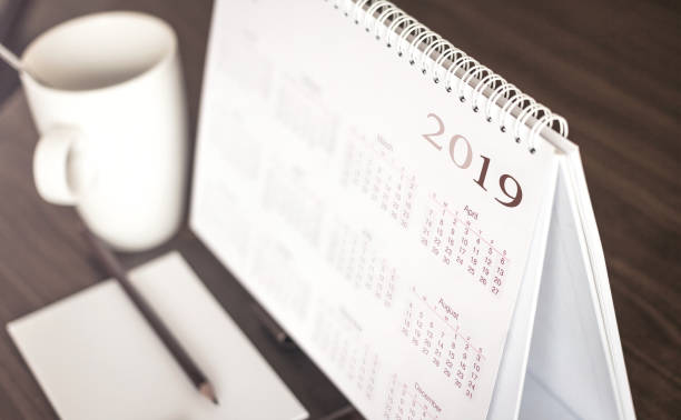 Desktop calendar 2019 stock photo