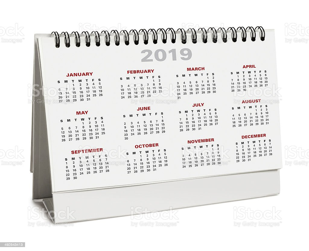 Desktop calendar 2019 - with clipping path royalty-free stock photo