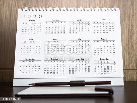 1027407218 istock photo Desktop calendar 2020 1169320733