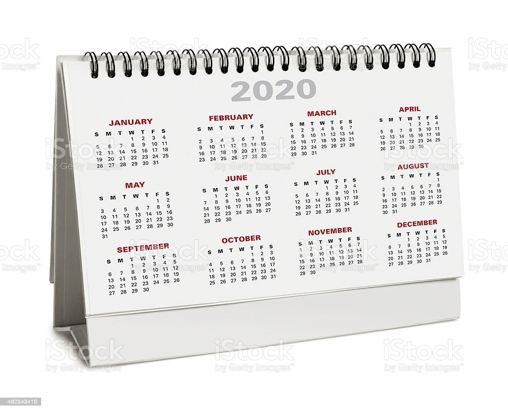 Desktop calendar 2020 - with clipping path stock photo