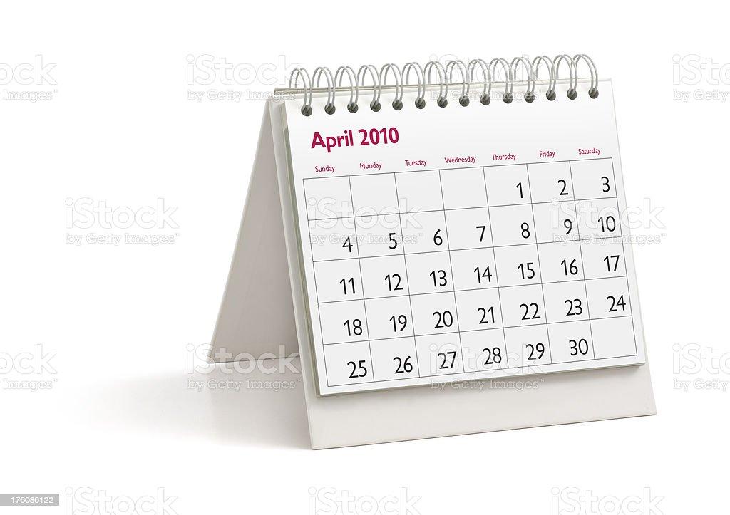 Desktop Calendar: April 2010 royalty-free stock photo