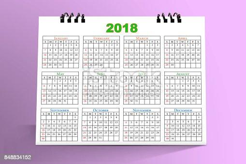 968874704 istock photo Desktop Calendar Design 2018 with mockup in pink background 848834152