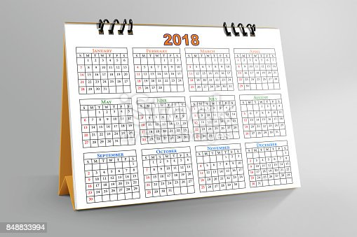 968874704istockphoto Desktop Calendar Design 2018 with mockup 848833994