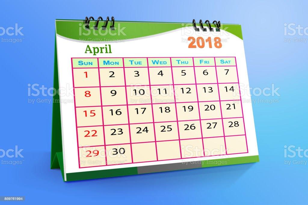 Desktop Calendar Design April 2018 With Mock Up Stock Photo More