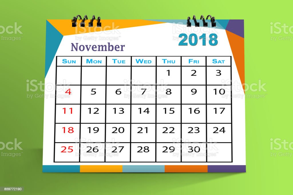 Desktop Calendar Design November 2018 With Mock Up Stock Photo